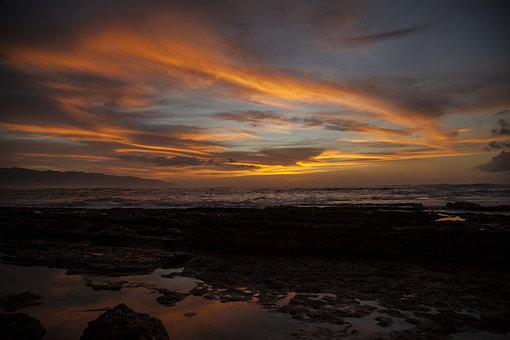 Sunset, Oahu, Hawaii, Landscape, Ocean, Sea, Shore