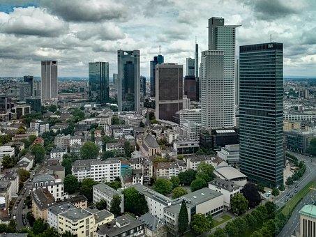 Frankfurt, Hesse, Germany, Skyline, Skyscraper, Outlook