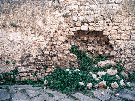 Wall, Stone, Hole, Green, Grass, Stone Wall, Texture