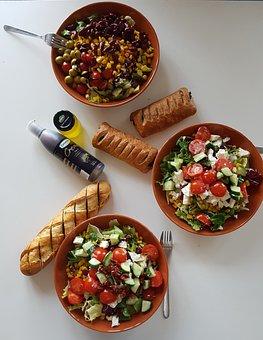 Eating, Lettuce, Salad, Healthy, Fit, Dinner, Breakfast