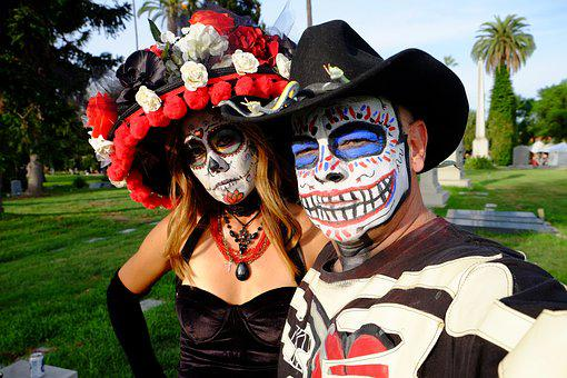 Day Of The Dead, Flowers, Hollywood Cemetery, Makeup