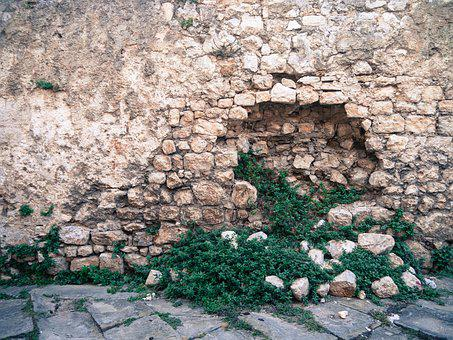 Wall, Stone, Hole, Green, Grass, Stone Wall, Texture