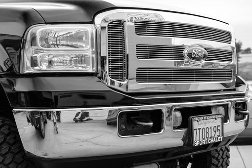 Ford, Truck, Grill, Black And White Photography