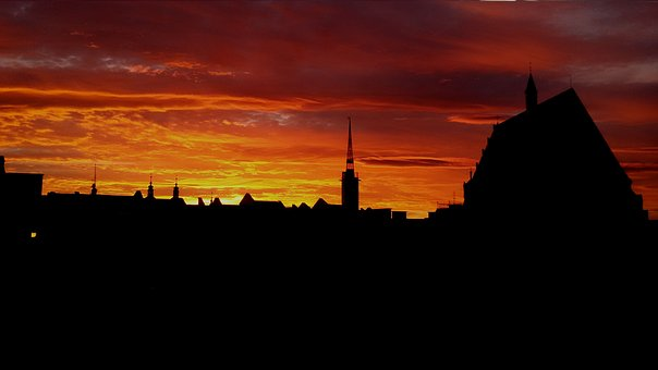 Sunset, Twilight, The Cathedral, City, Nysa