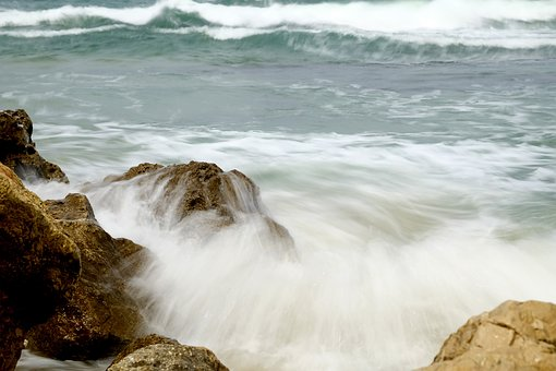 Long Exposure, Sea, Stones, Wave, Surf