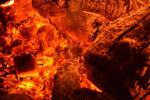 Embers, Campfire, Glow, Fire, Flame, Burn, Wood, Heat