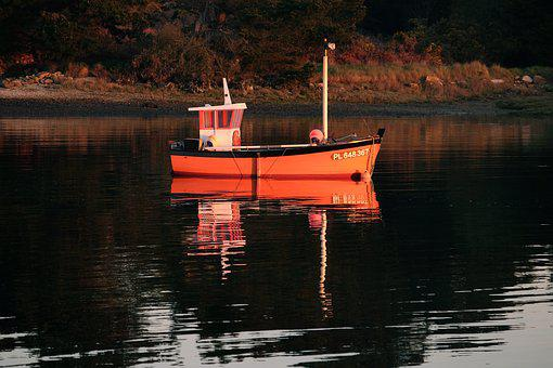 Brittany, Sunrise, Boat, Reflection On The Water