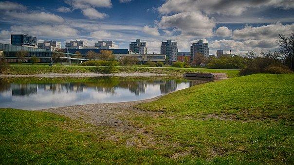 Landscapes, Water, Spring, Sky Blue, Park, Colors