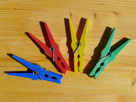 Pegs, Colourful, Laundry, Green, Yellow, Plastic
