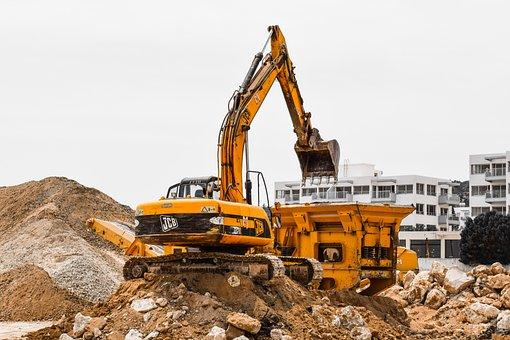 Construction Site, Heavy Machines, Working, Yellow