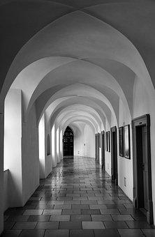 Corridor, Doors, Light, Architecture, Pointed Arch