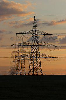 High Voltage, Evening Light, Twilight, Strommast