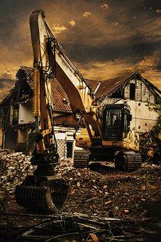 Excavators, Demolition, Debris, Site, Home