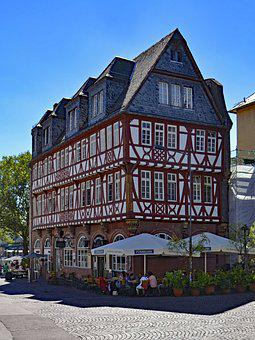 Frankfurt, Hesse, Germany, Römerberg, Old Town, Truss