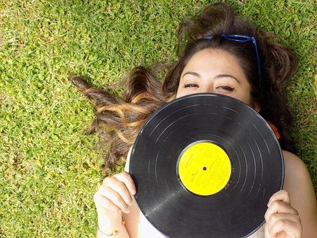 Retro, Girl, Portrait, Disk, Vinyl, Lawn