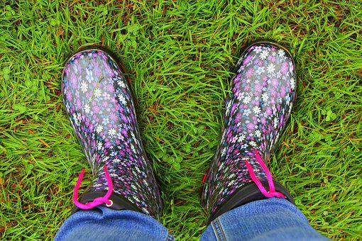 Rubber Boots, Feet, Shoes, Grass, Jeans