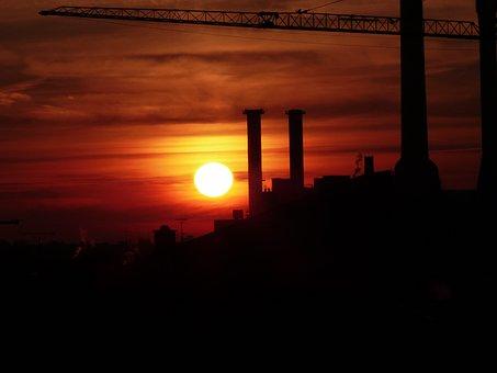 Sunset, Afterglow, Abendstimmung, Industry, Crane, Site