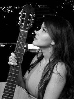 Girl, Guitar, City, Musician, Instrument
