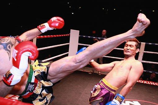 Football, Kick, Boxing, Combat, Gloves, Ring