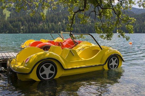 Pedal Boat, New Beetle, Lake, Convertible
