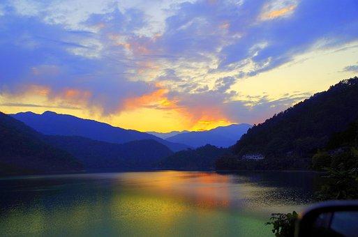 Sunset, Japan, Lake, Sky, Nightfall, At Dusk, Mountain