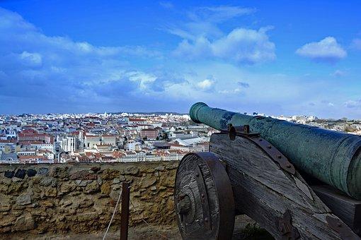 Lisbon, Portugal, Castle Of Sao Jorge, Castle, Ruin