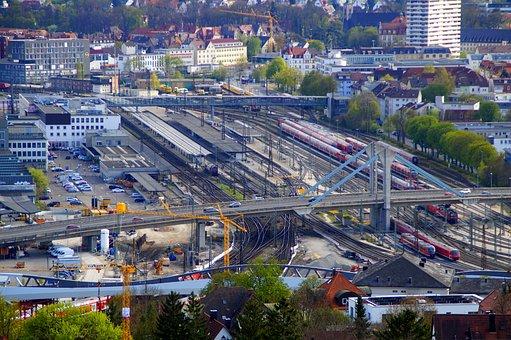 Railway Station, Ulm, Central Station, Tracks, Site