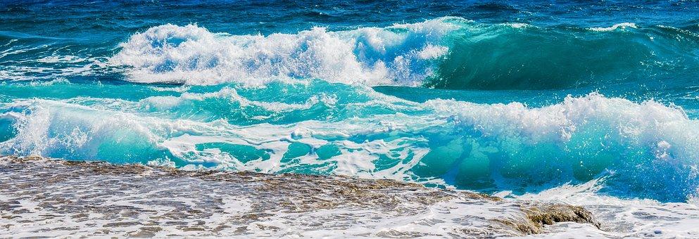 Waves, Beach, Sea, Nature, Blue, Seascape, Foam, Spray