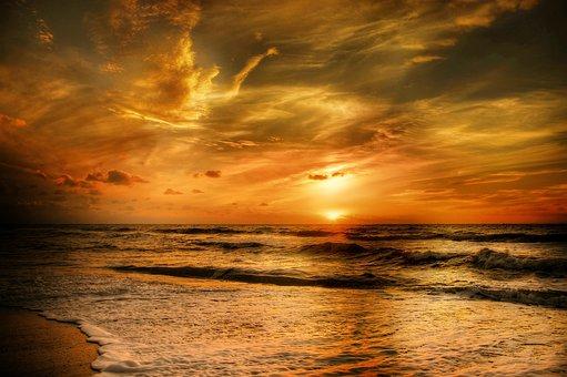 Denmark, Sun, Beach, Summer, Sunset, Sea, Nature