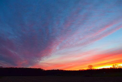 Sunset, Field, Sky, Orange, Red, Yellow, Blue, Colorful