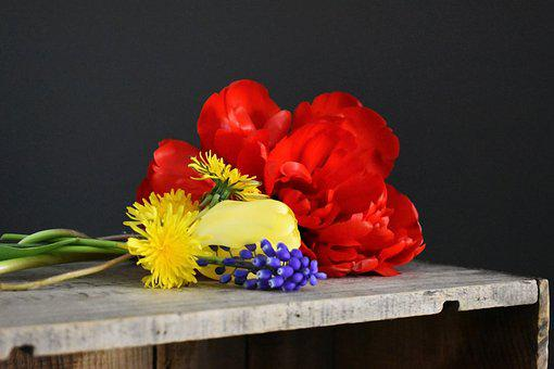 Flowers, Tulips, Bunch Of Flowers, Wooden Crate