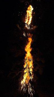 Fire, Tűzmanó, Facial, Light, At Night, Black, Red