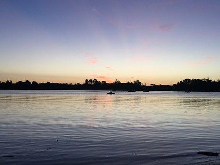 Sky, Water, Sunset, Landscape, Blue, Reflection