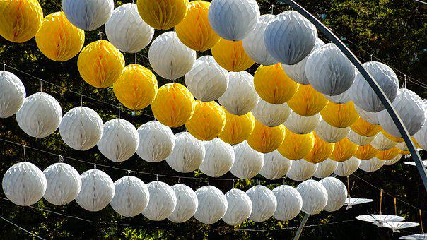 Street, Decoration, Light, Globes, Lamp, Yellow, White
