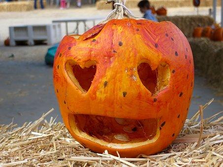 Halloween, Pumpkin, Heart, Eyes, Art, Cute, Orange