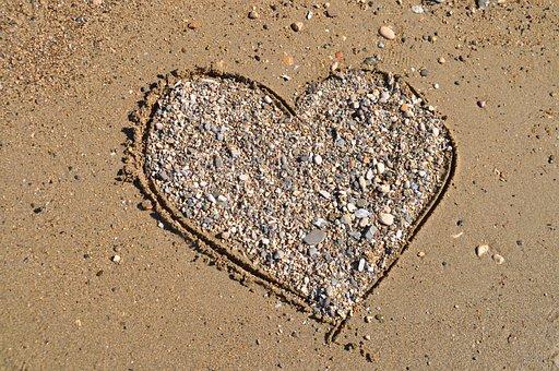 Heart, Sand, Stone Heart, Holiday, Love, Beach