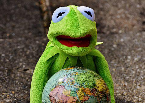 Embrace The Whole World, Kermit, Frog, Funny, Soft Toy