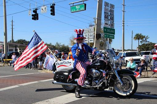 Uncle Sam, Volunteers, Parade, Fairtax, Motorcycle