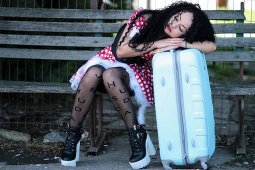 Girl, Train Station, Calling, Asleep, Train, Peron