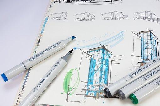 Sketch Book, Sketch, Marker, Felt Tip Pens
