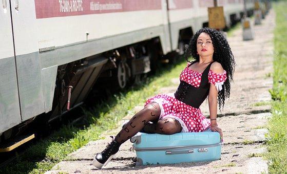 Girl, Train Station, Calling, Suitcase, Train, Peron