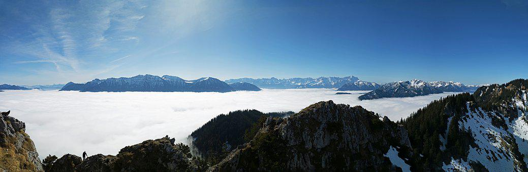 Mountains, Panorama, Clouds, Sky, Alpine, Summit