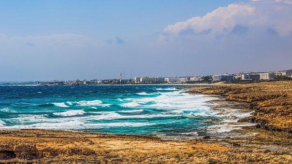 Cyprus, Ayia Napa, Panoramic, View, Waves, Coast