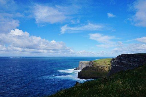 Ireland, Galway, Clare, Cliff, Moher, Sea, Ocean, Cloud