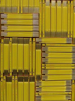 Meterstab, Folding Rule, Cm, Yellow, Wood, Mosaic