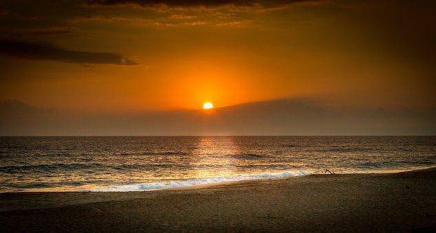 Sunset, Tropical, Sea, Sky, Horizon, Colorful