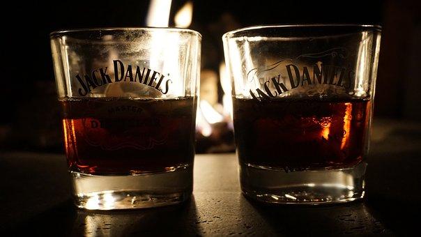 Jack Daniels, Whiskey, Glasses, Drink, Alcohol, Brandy