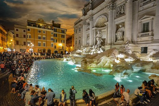 Rome, Trevi, Evening, Crowds, Tourists, Italy, Italian