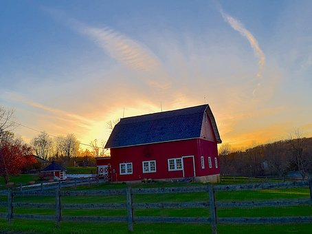 Farm, Building, Sunrise, Dawn, Morning, Early, Sky