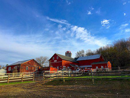 Farm, Sunrise, Sky, Clouds, Landscape, Fence, Rural